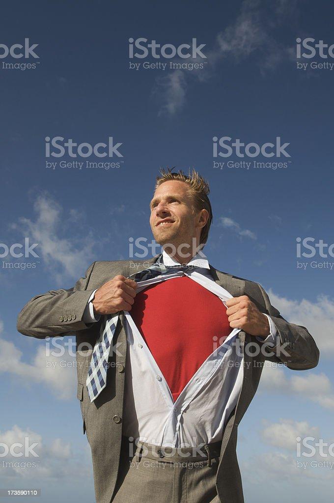 Smiling Superhero Businessman Outdoors Blue Sky Red Shirt royalty-free stock photo