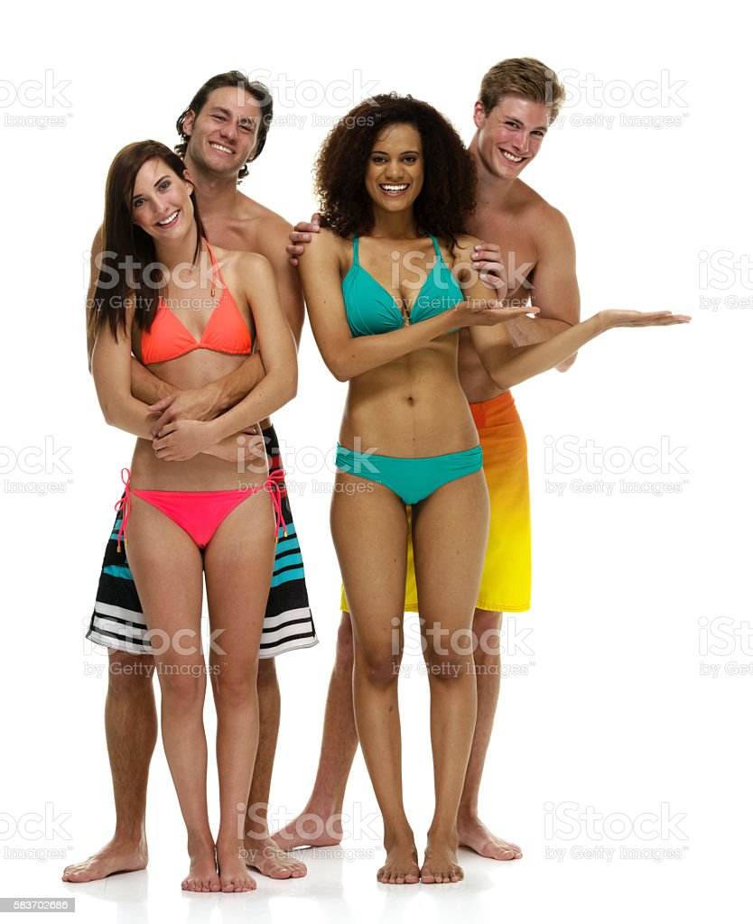 Smiling swimmer presenting stock photo