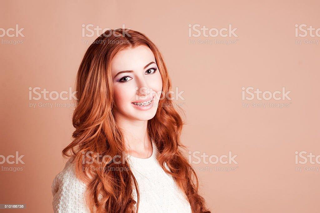 Smiling teen girl stock photo