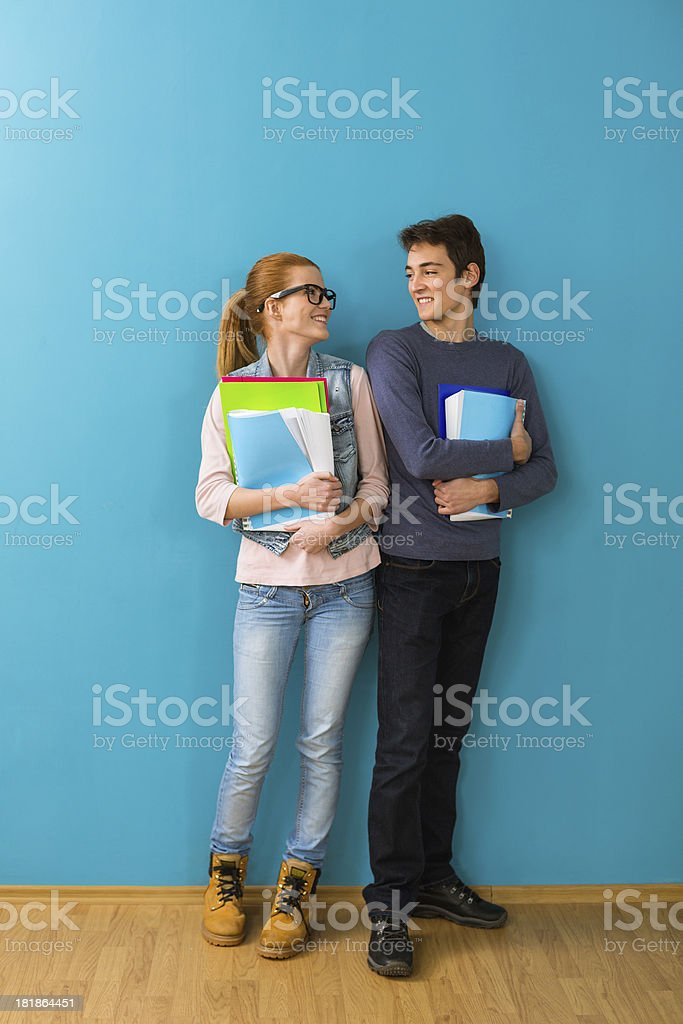 Smiling teen students royalty-free stock photo