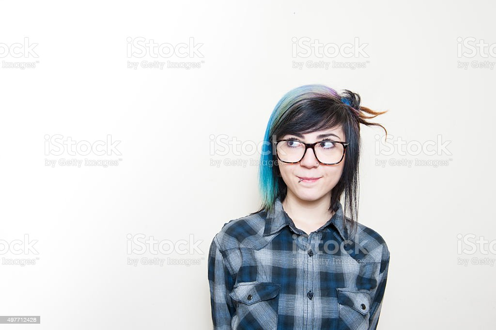 Smiling teen woman portrait stock photo