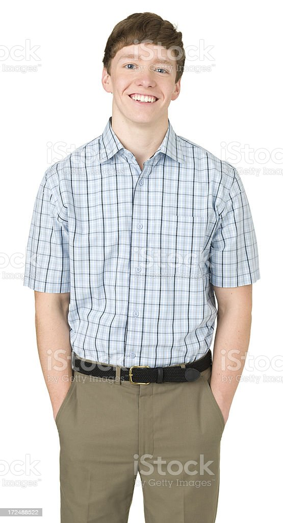 Smiling Teenage Boy, Three Quarter Portrait, Hands In Pockets royalty-free stock photo