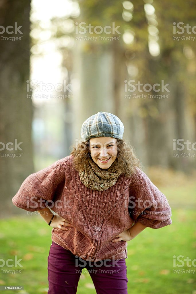 smiling teenager in park royalty-free stock photo