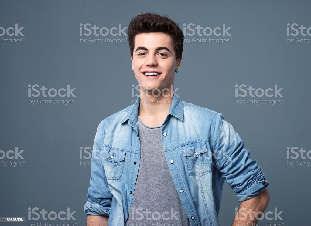 Smiling teenager portrait stock photo