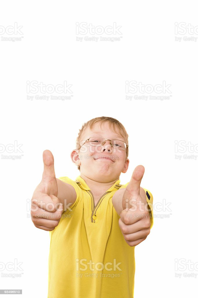 Smiling teenager show thumb up sign on two hands royalty-free stock photo