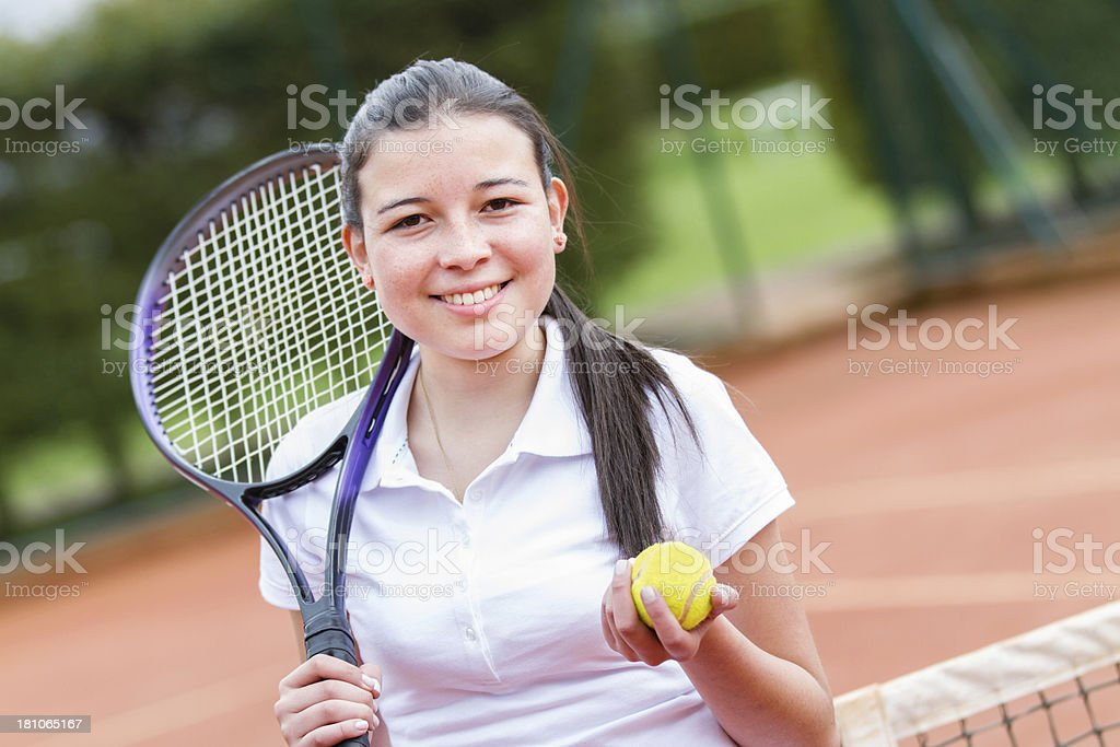 Smiling tennis player royalty-free stock photo