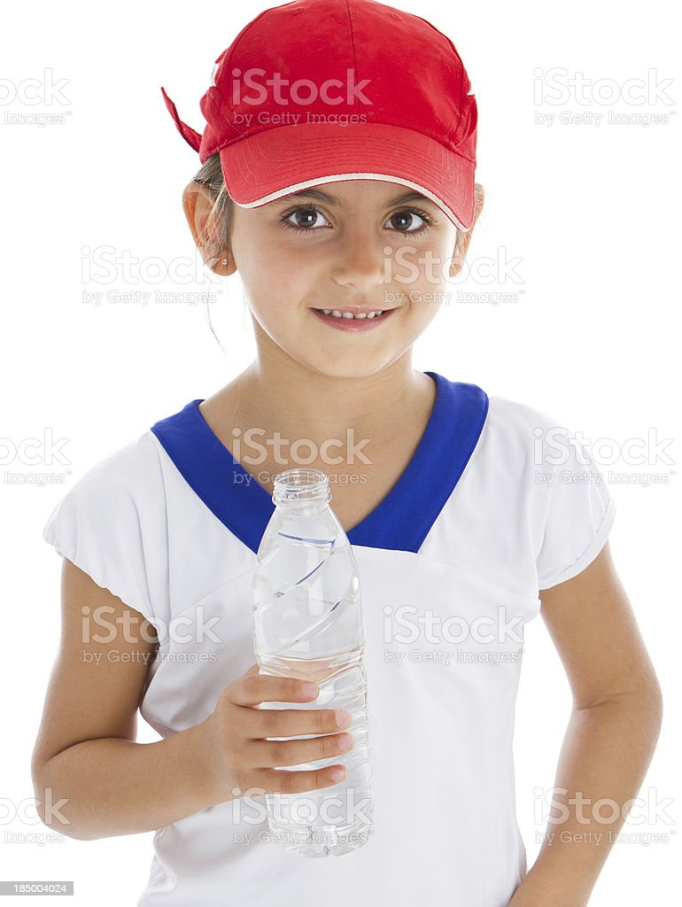 Smiling tennis player with racket stock photo