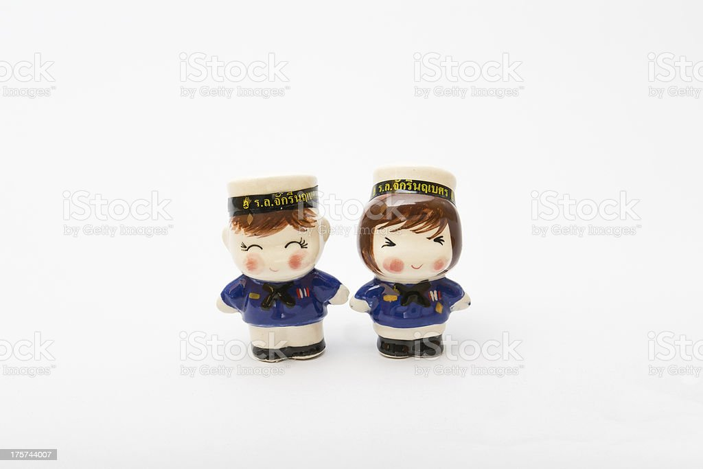 smiling thai navy dolls stock photo