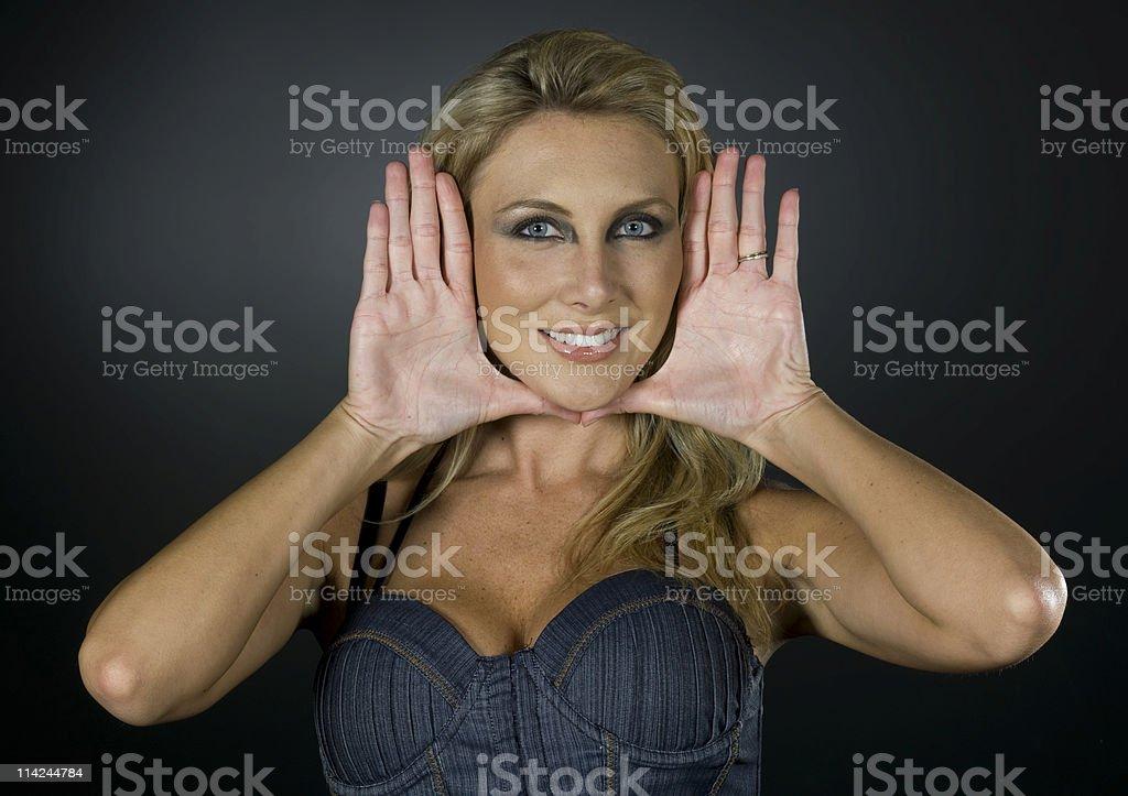 Smiling thirties (no make up) stock photo
