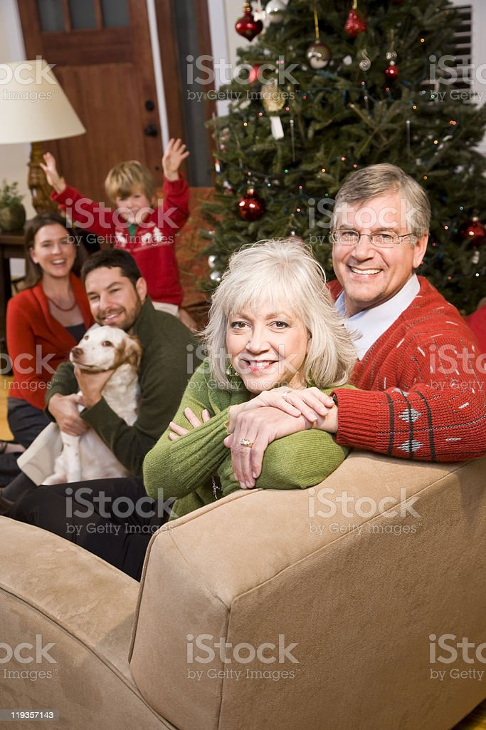 Smiling three generation family sitting by Christmas tree royalty-free stock photo