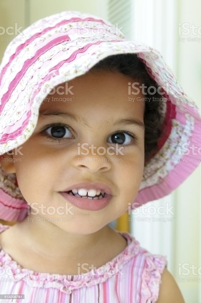 PEOPLE: Smiling Toddler (2-3) With Summer Hat stock photo