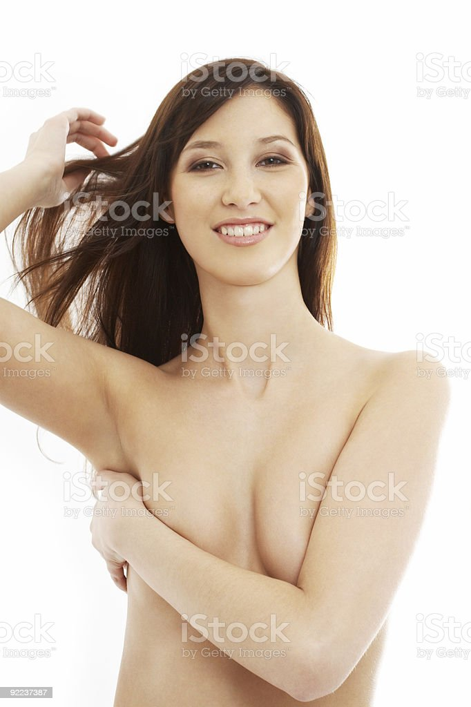 smiling topless brunette with long hair royalty-free stock photo