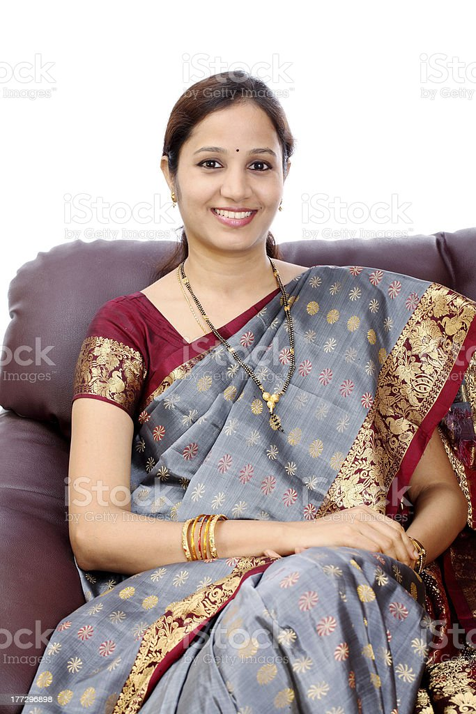 Smiling traditional Indian woman royalty-free stock photo
