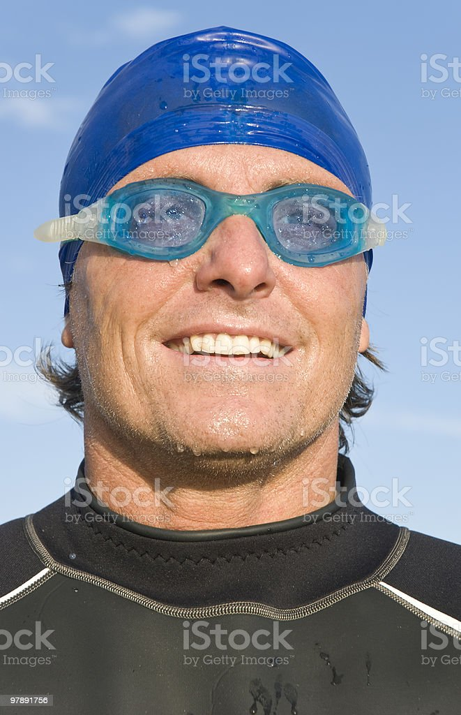 smiling triathlete stock photo