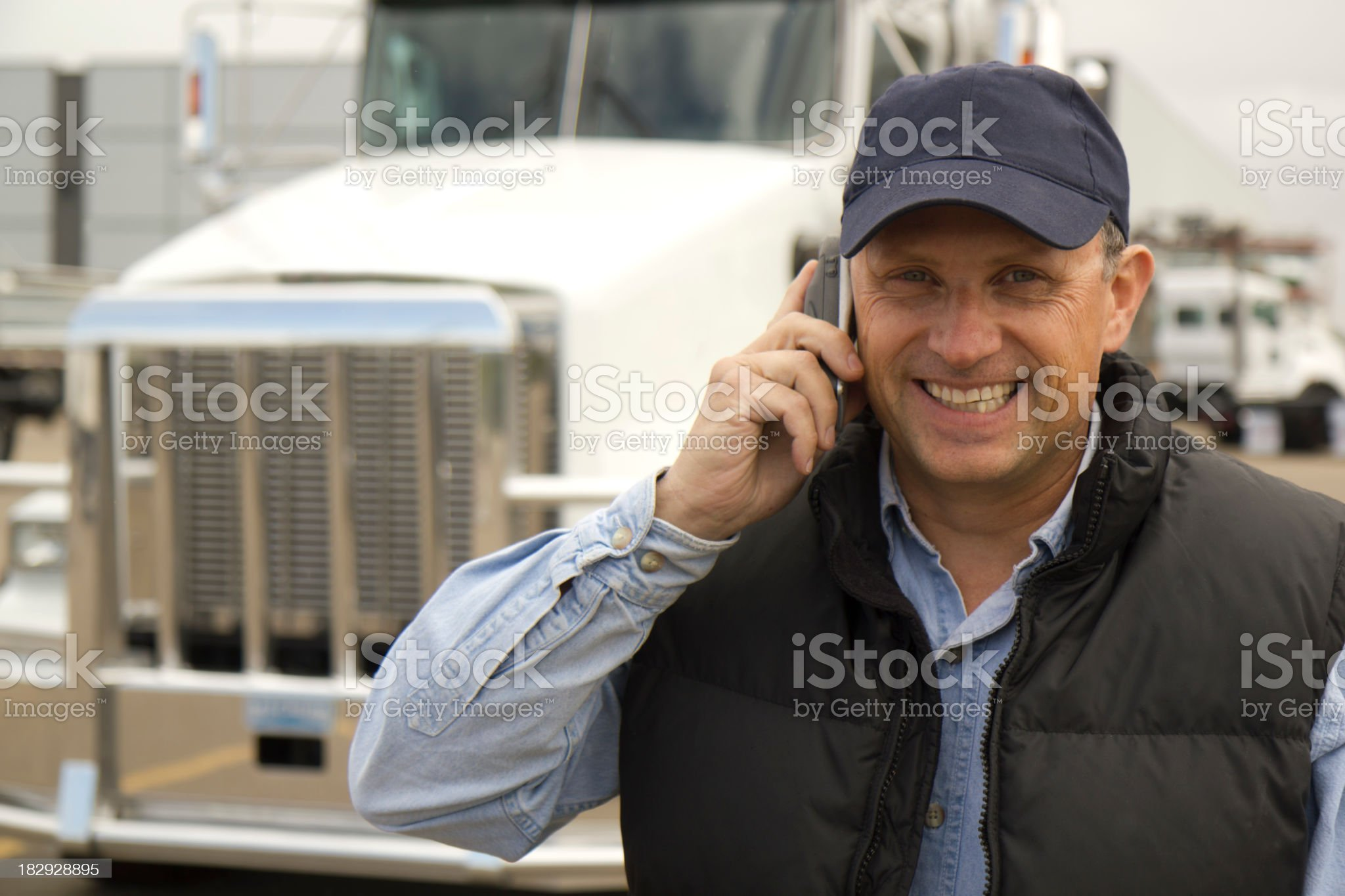 Smiling Trucker on the Phone royalty-free stock photo