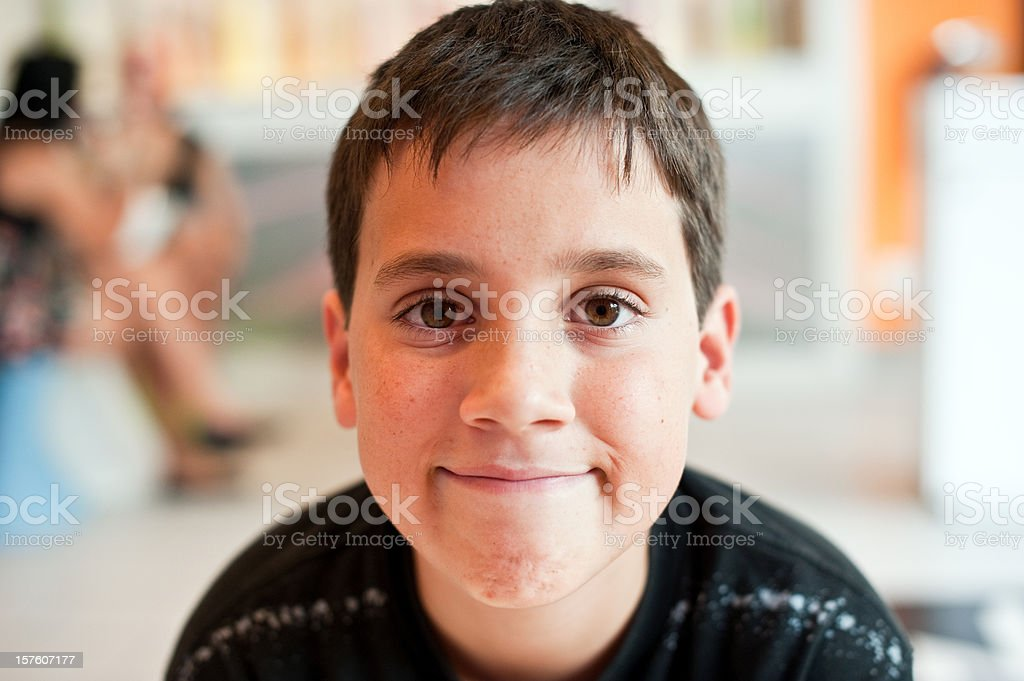 Smiling twelve years old boy royalty-free stock photo