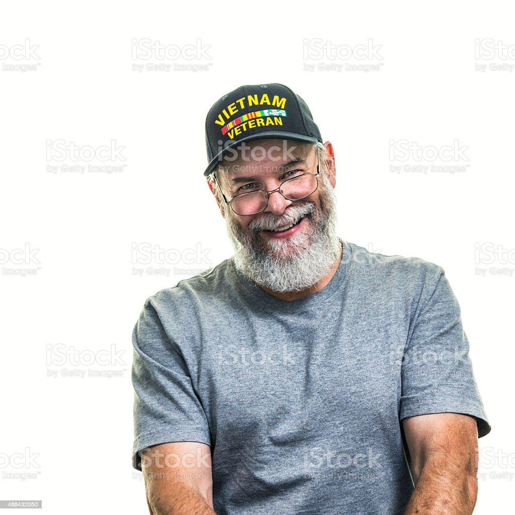 Smiling US Vietnam War Military Veteran stock photo