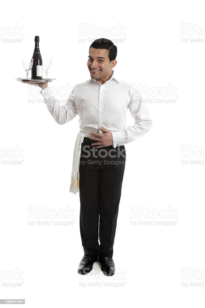 Smiling waiter or bartender royalty-free stock photo