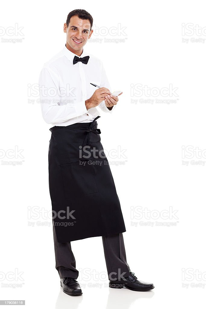smiling waiter taking orders stock photo