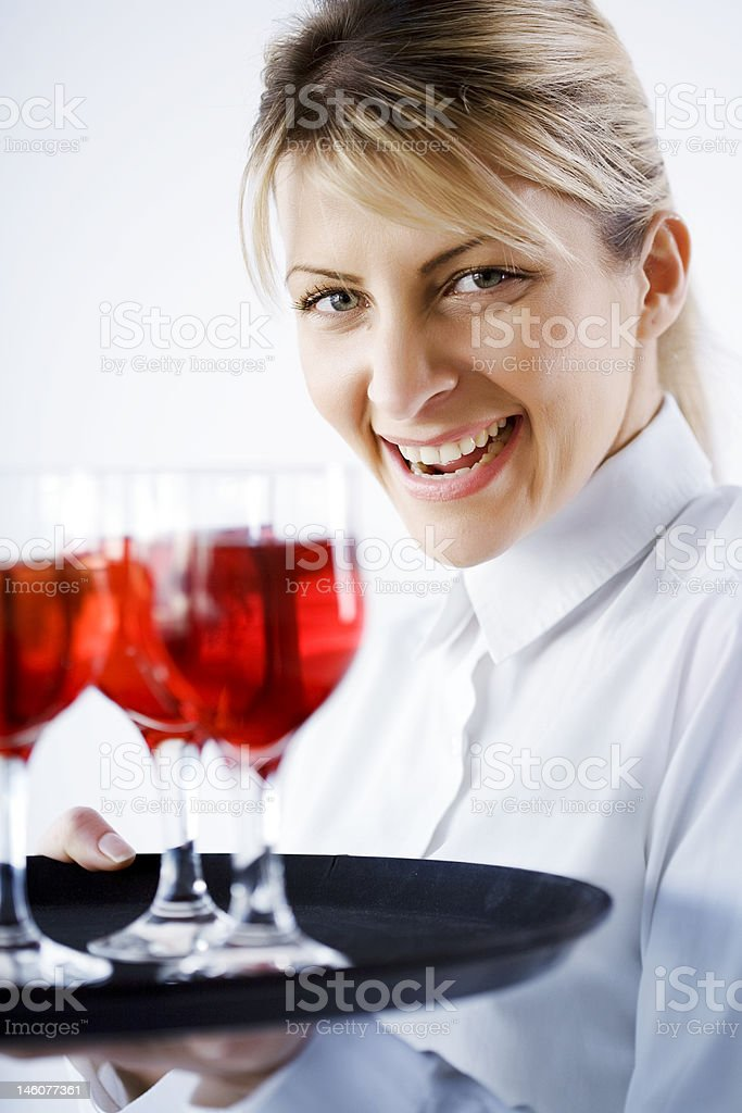 smiling waitress royalty-free stock photo
