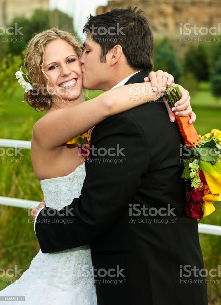 Smiling Wedding Bride with Groom royalty-free stock photo