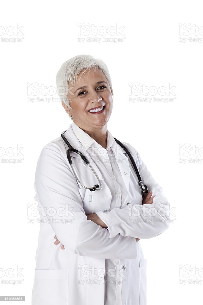 smiling white-haired old doctor royalty-free stock photo