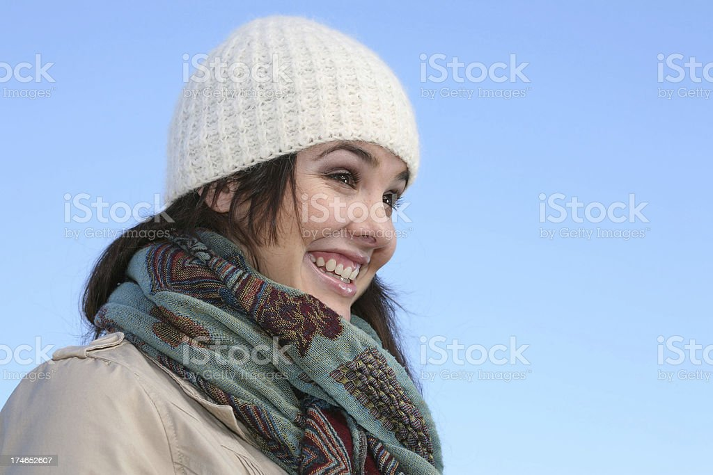 Smiling Winter Woman - Copyspace royalty-free stock photo