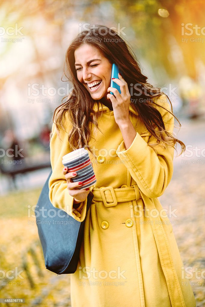 Smiling woman and Fall stock photo
