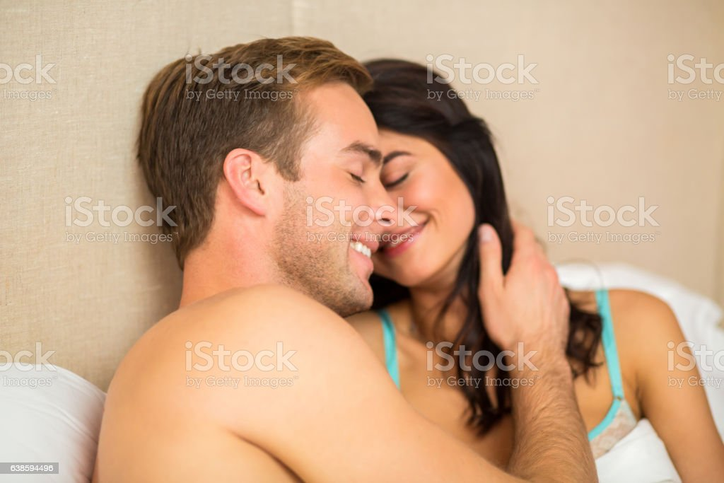 Smiling woman and man. stock photo