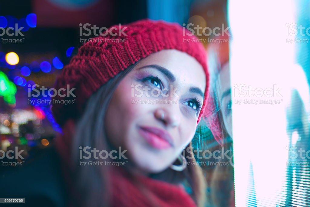 Smiling woman at christmas stock photo