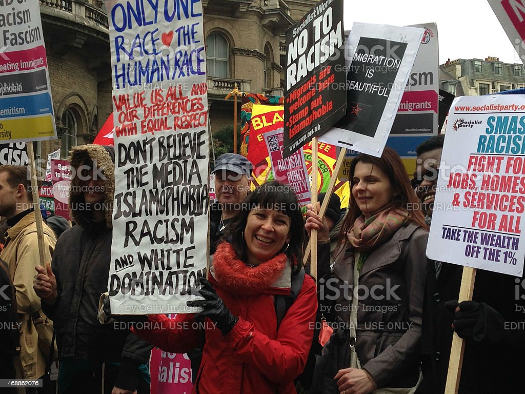Smiling woman at Demonstration stock photo
