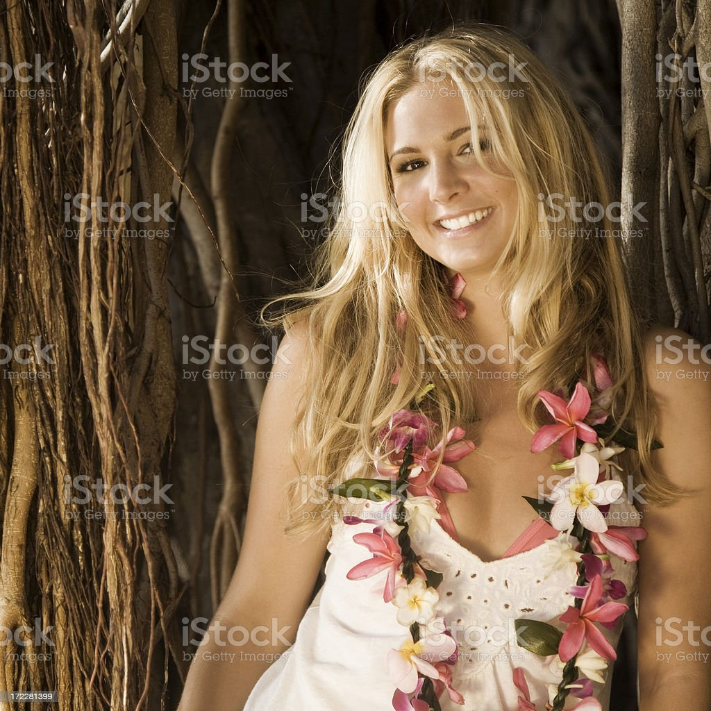 Smiling Woman at Sunset royalty-free stock photo