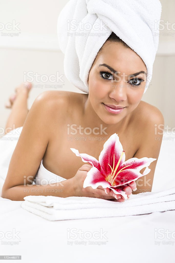 Smiling woman at the spa royalty-free stock photo