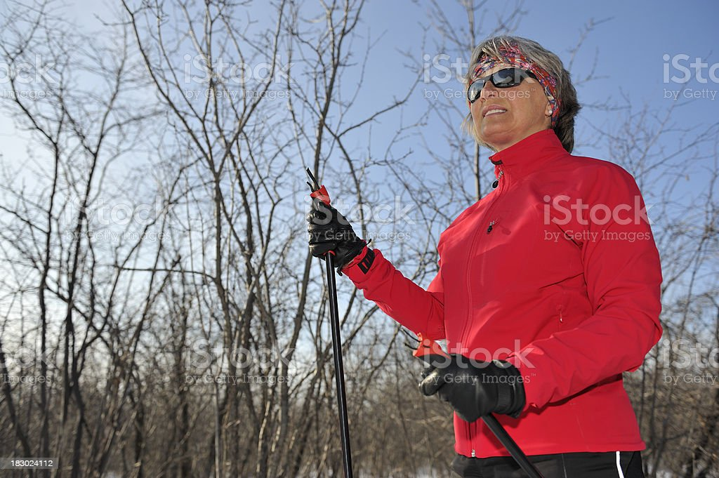 Smiling Woman crosscountry skiing, winter sport royalty-free stock photo