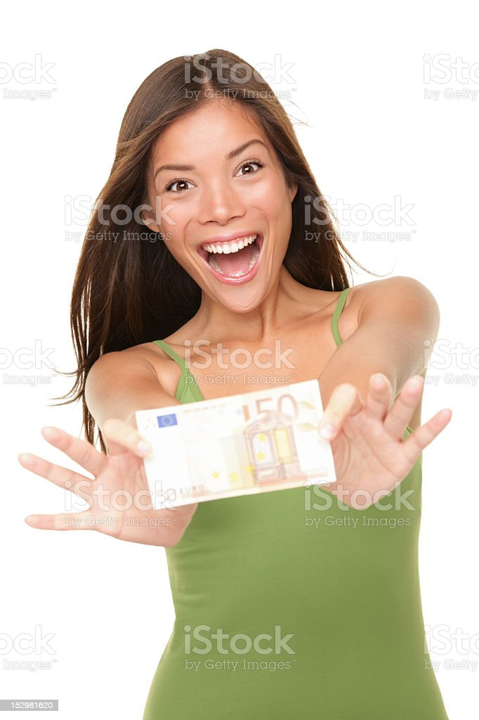 Smiling woman holding a $50 bill stock photo