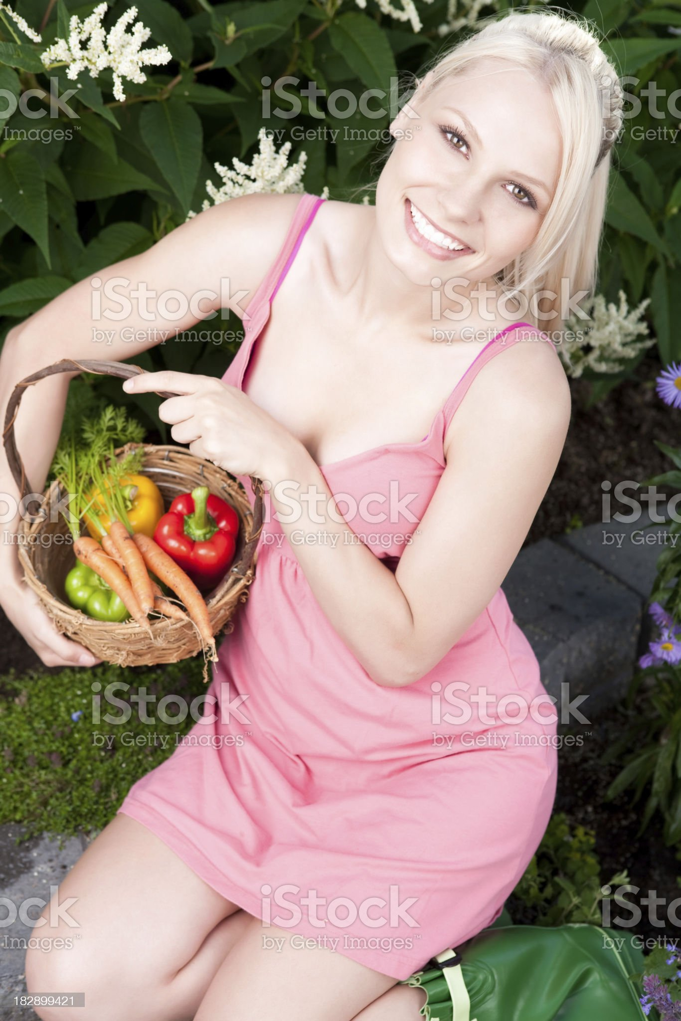 Smiling woman holding basket of garden vegetables royalty-free stock photo