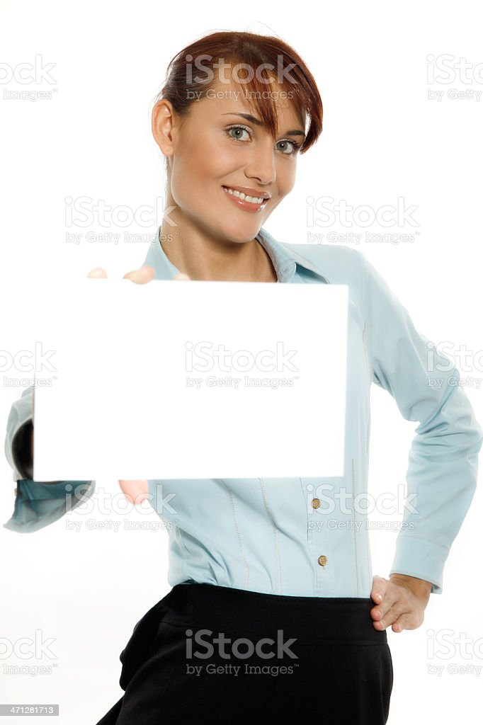 Smiling woman holding blank business card royalty-free stock photo
