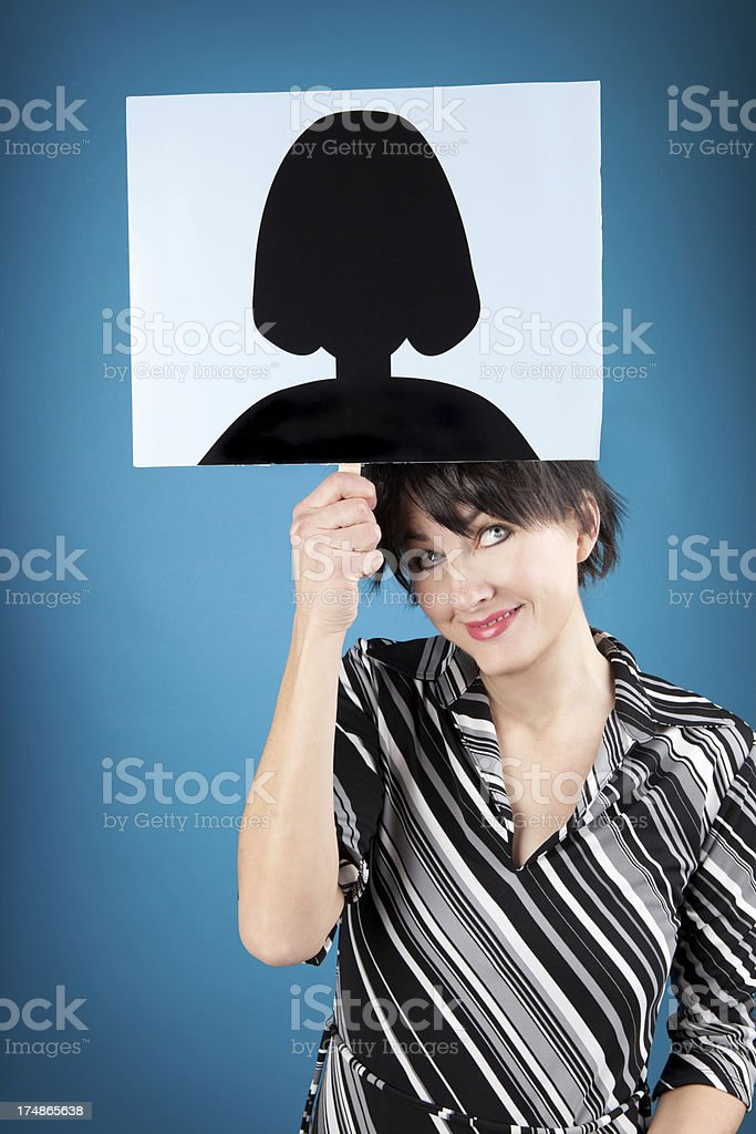 Smiling Woman Holding Generic Social Networking Picture Overhead stock photo