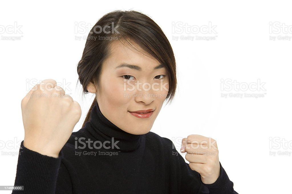 smiling woman in boxing pose royalty-free stock photo