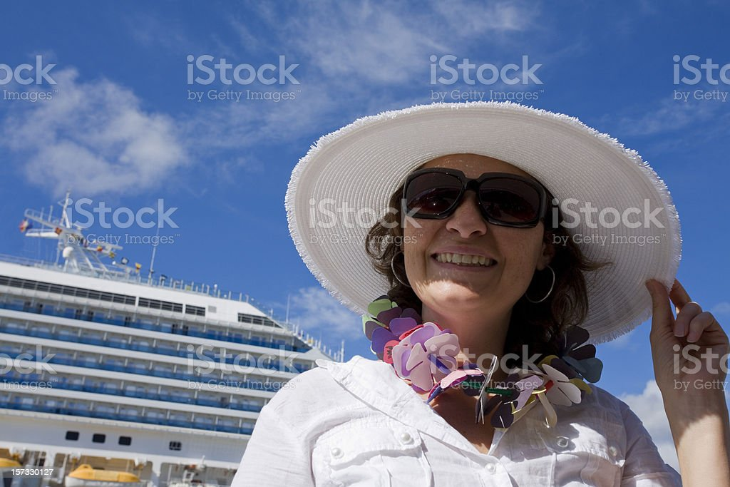 Smiling woman in Cruise vacation. royalty-free stock photo