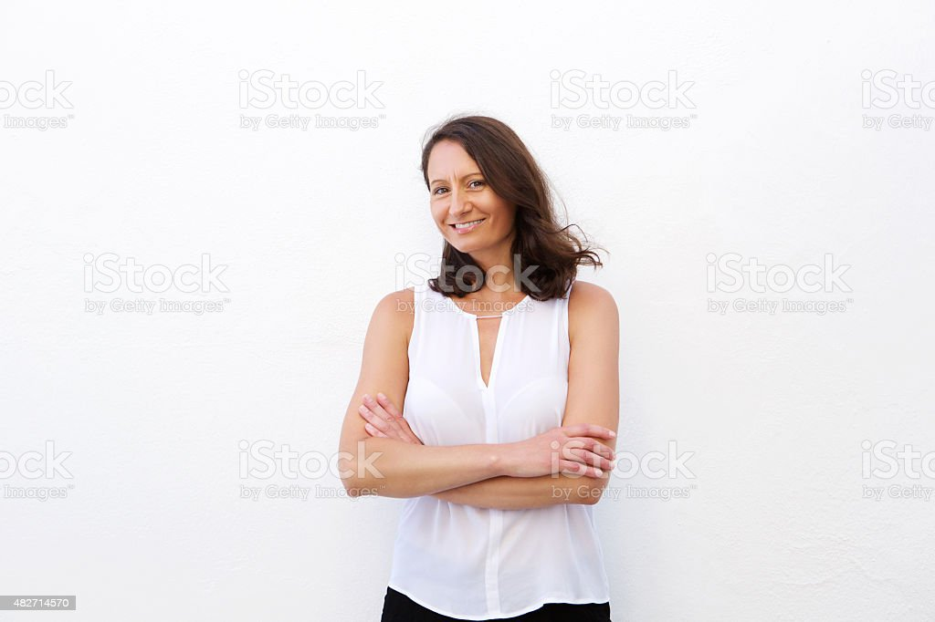 Smiling woman in her 30s stock photo