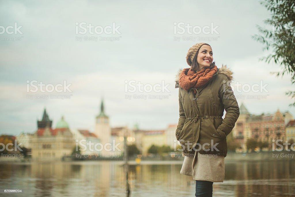 Smiling woman in Prague stock photo
