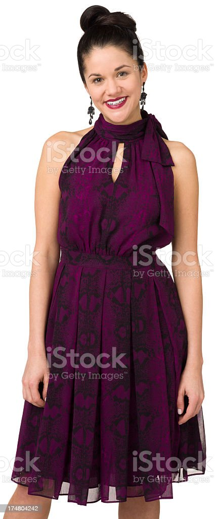 Smiling Woman In Purple Dress royalty-free stock photo
