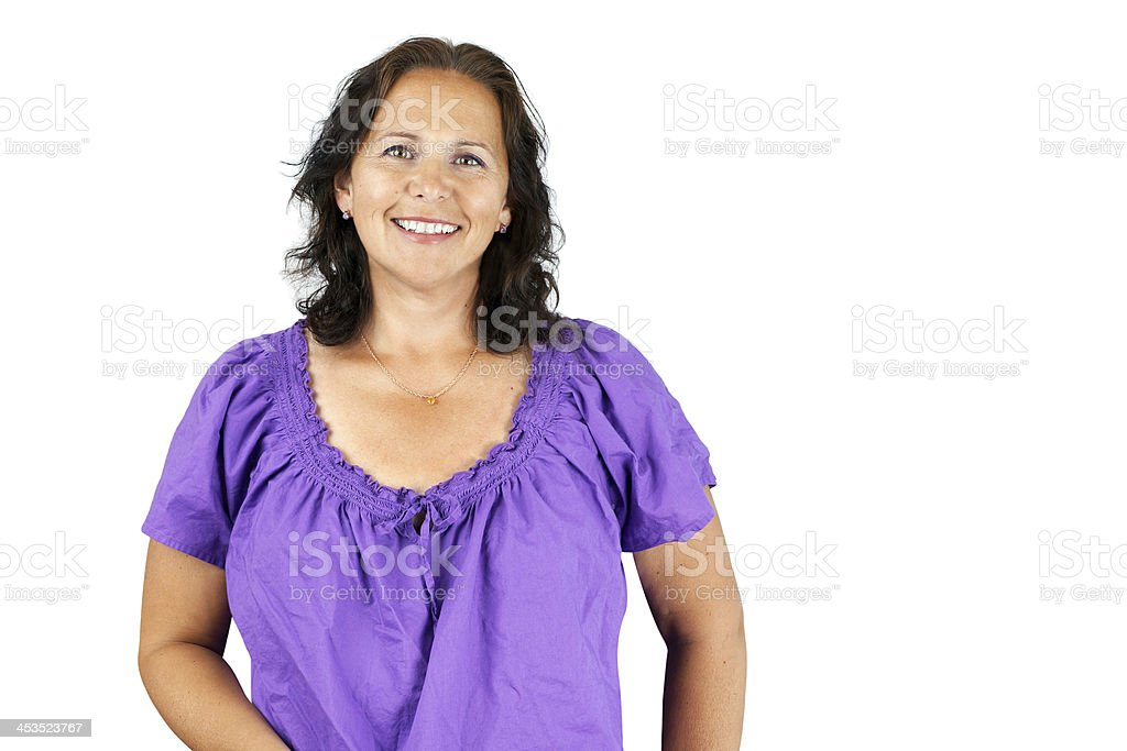 Smiling woman in purple stock photo