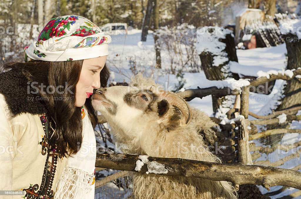 smiling woman in tradition ukrainian cloth stock photo
