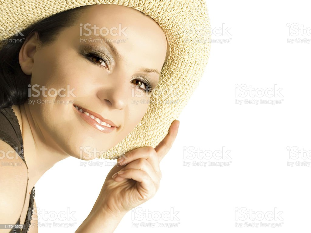 smiling woman, lady in hat isolated on the white background stock photo