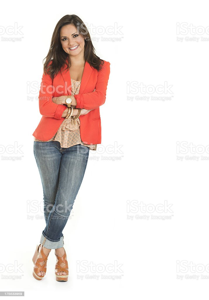 Smiling Woman Leaning stock photo