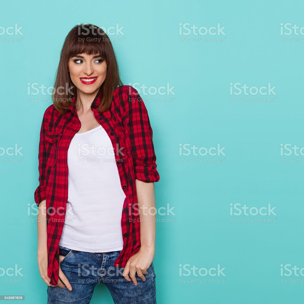 Smiling Woman Looking Away stock photo