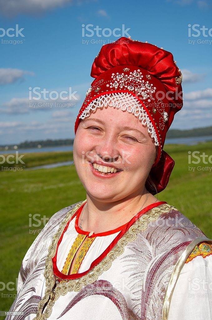 Smiling Woman on landscape background royalty-free stock photo