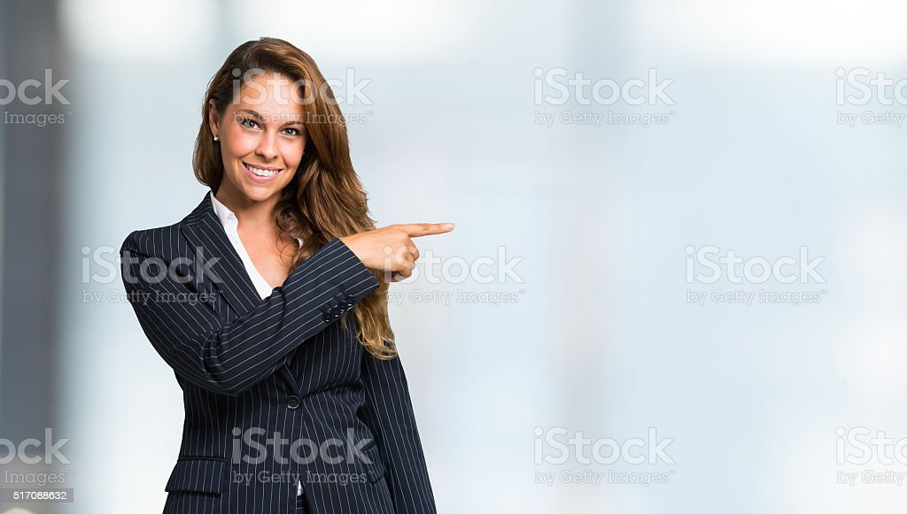 Smiling woman portrait, Large copy-space stock photo